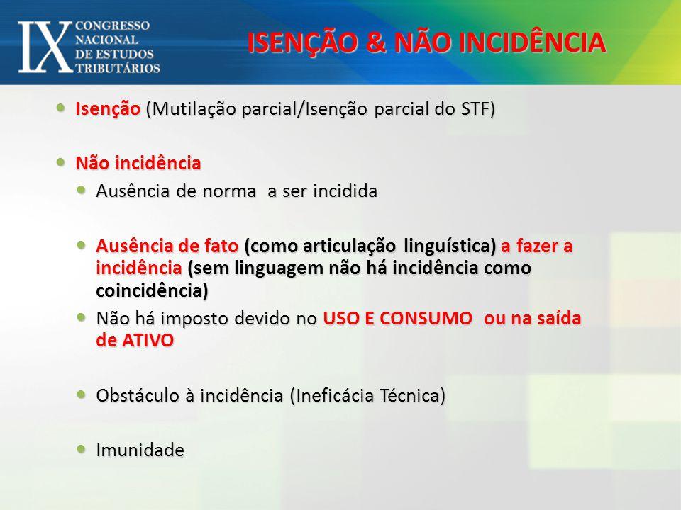 ISENÇÃO & NÃO INCIDÊNCIA Isenção (Mutilação parcial/Isenção parcial do STF) Isenção (Mutilação parcial/Isenção parcial do STF) Não incidência Não inci