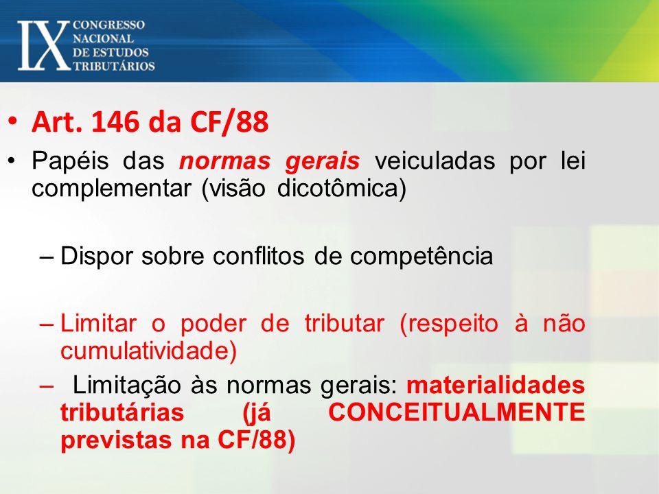 Art. 146 da CF/88 Papéis das normas gerais veiculadas por lei complementar (visão dicotômica) –Dispor sobre conflitos de competência –Limitar o poder