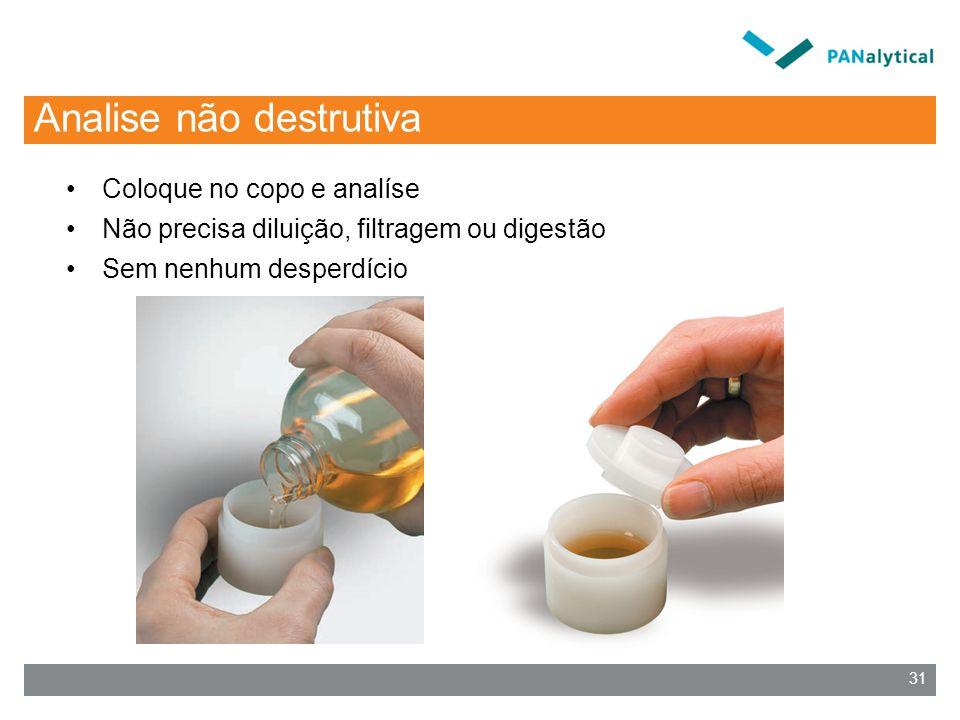 Analise não destrutiva Coloque no copo e analíse Não precisa diluição, filtragem ou digestão Sem nenhum desperdício 31