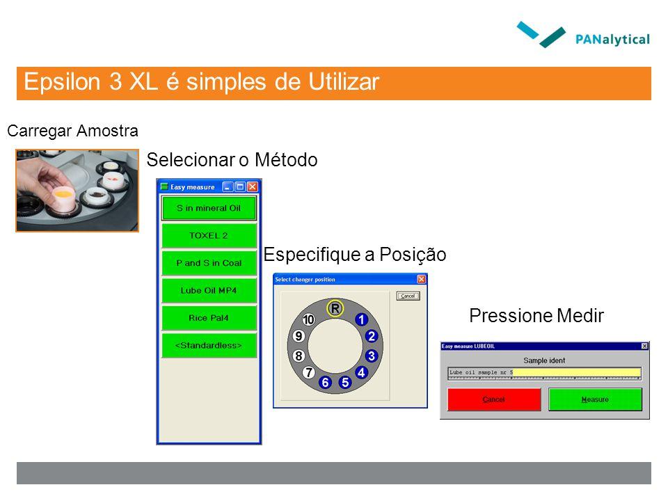 Epsilon 3 XL é simples de Utilizar Carregar Amostra Selecionar o Método Especifique a Posição Pressione Medir