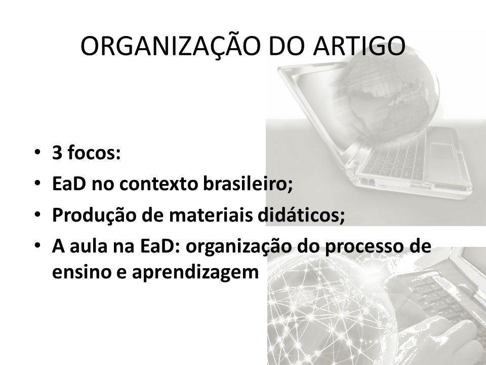 ORGANIZAÇÃO DO ARTIGO 3 focos: EaD no contexto brasileiro; Produção de materiais didáticos; A aula na EaD: organização do processo de ensino e aprendi