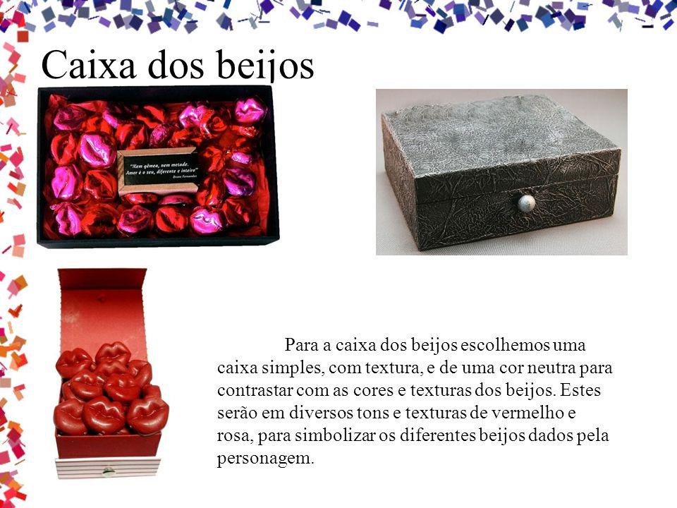 Caixa dos beijos Para a caixa dos beijos escolhemos uma caixa simples, com textura, e de uma cor neutra para contrastar com as cores e texturas dos be