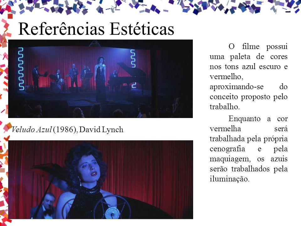 Referências Estéticas O filme possui uma paleta de cores nos tons azul escuro e vermelho, aproximando-se do conceito proposto pelo trabalho. Enquanto