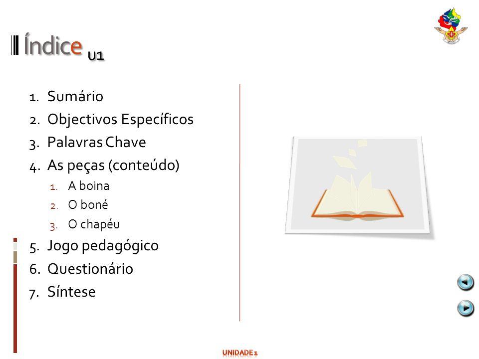 Índice u1 1. Sumário 2. Objectivos Específicos 3. Palavras Chave 4. As peças (conteúdo) 1. A boina 2. O boné 3. O chapéu 5. Jogo pedagógico 6. Questio