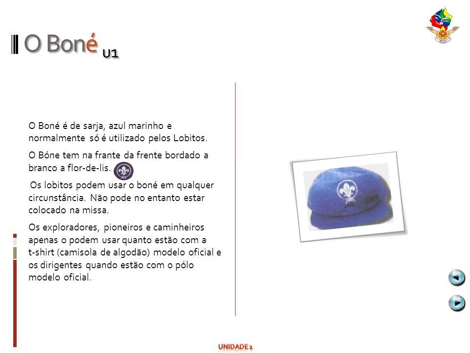 O Boné u1 O Boné é de sarja, azul marinho e normalmente só é utilizado pelos Lobitos. O Bóne tem na frante da frente bordado a branco a flor-de-lis. O