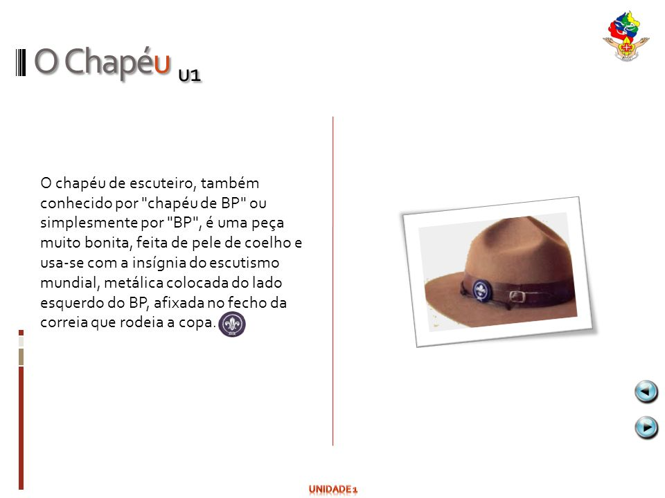 O Chapéu u1 O chapéu de escuteiro, também conhecido por