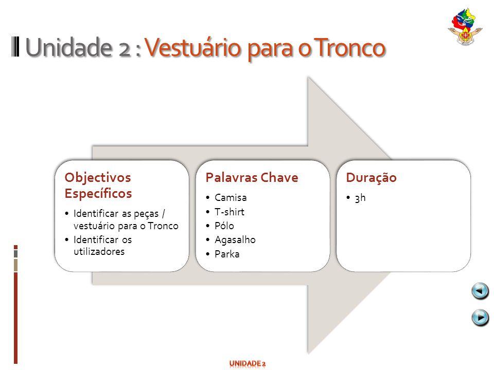 Unidade 2 : Vestuário para o Tronco Objectivos Específicos Identificar as peças / vestuário para o Tronco Identificar os utilizadores Palavras Chave C