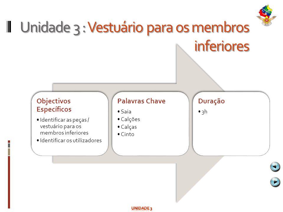 Unidade 3 : Vestuário para os membros inferiores Objectivos Específicos Identificar as peças / vestuário para os membros inferiores Identificar os uti