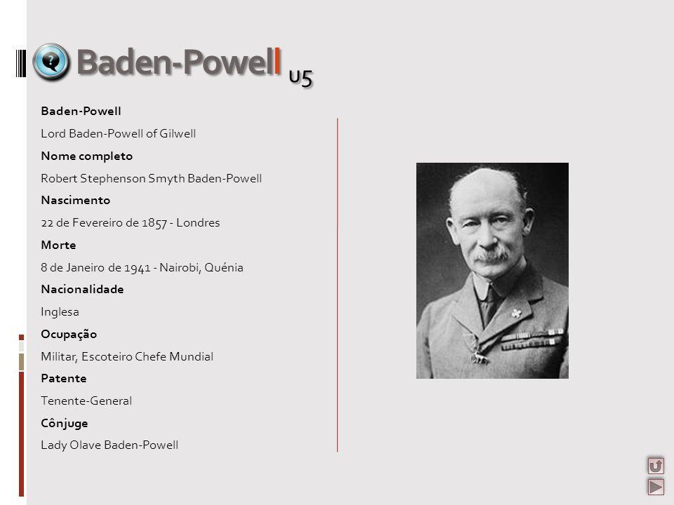 Baden-Powell u5 Baden-Powell Lord Baden-Powell of Gilwell Nome completo Robert Stephenson Smyth Baden-Powell Nascimento 22 de Fevereiro de 1857 - Lond
