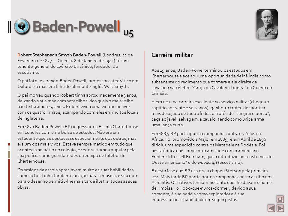 Carreira militar Aos 19 anos, Baden-Powel terminou os estudos em Charterhouse e aceitou uma oportunidade de ir à Índia como subtenente do regimento qu