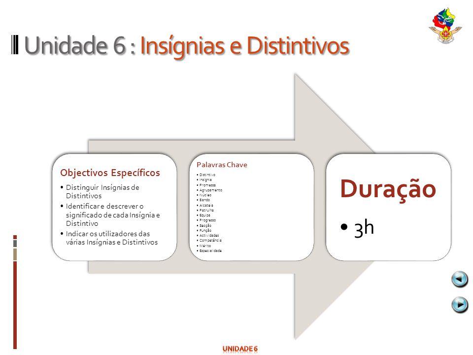 Unidade 6 : Insígnias e Distintivos Objectivos Específicos Distinguir Insígnias de Distintivos Identificar e descrever o significado de cada Insígnia