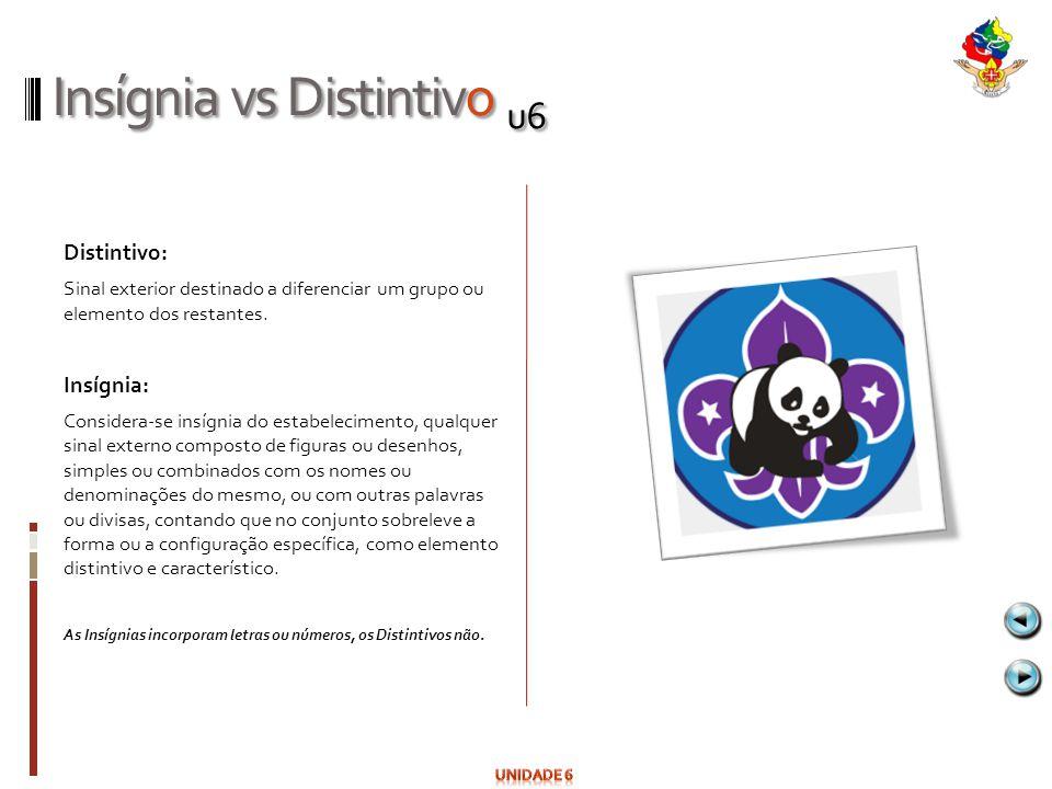 Insígnia vs Distintivo u6 Distintivo: Sinal exterior destinado a diferenciar um grupo ou elemento dos restantes. Insígnia: Considera-se insígnia do es