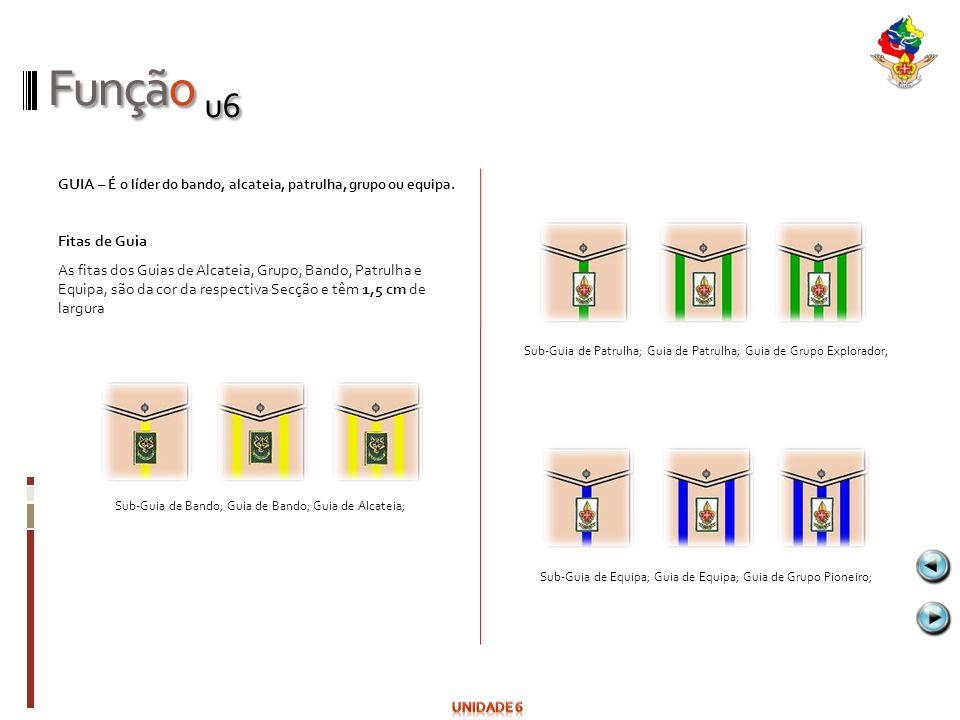 Função u6 GUIA – É o líder do bando, alcateia, patrulha, grupo ou equipa. Fitas de Guia As fitas dos Guias de Alcateia, Grupo, Bando, Patrulha e Equip