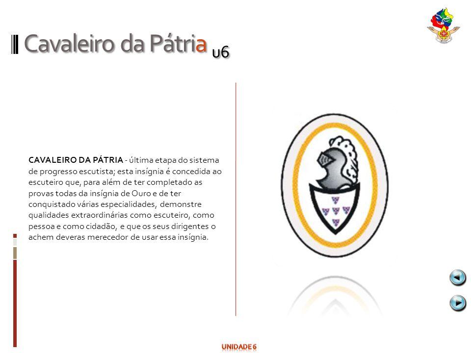 Cavaleiro da Pátria u6 CAVALEIRO DA PÁTRIA - última etapa do sistema de progresso escutista; esta insígnia é concedida ao escuteiro que, para além de
