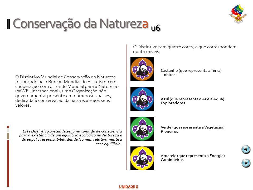Conservação da Natureza u6 O Distintivo Mundial de Conservação da Natureza foi lançado pelo Bureau Mundial do Escutismo em cooperação com o Fundo Mund