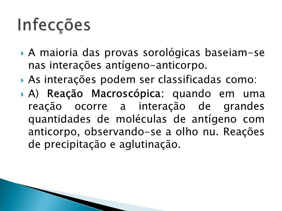 A maioria das provas sorológicas baseiam-se nas interações antígeno-anticorpo. As interações podem ser classificadas como: A) Reação Macroscópica: qua