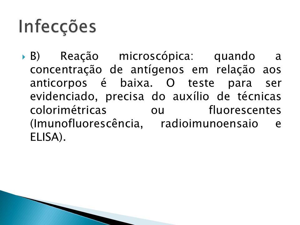 B) Reação microscópica: quando a concentração de antígenos em relação aos anticorpos é baixa. O teste para ser evidenciado, precisa do auxílio de técn