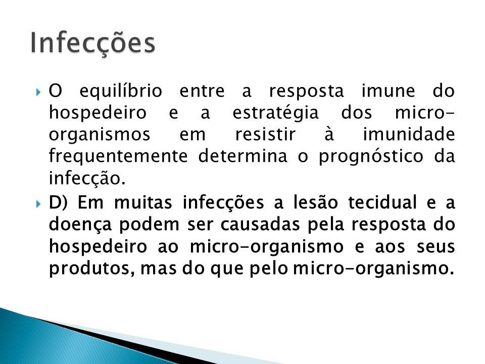 O equilíbrio entre a resposta imune do hospedeiro e a estratégia dos micro- organismos em resistir à imunidade frequentemente determina o prognóstico