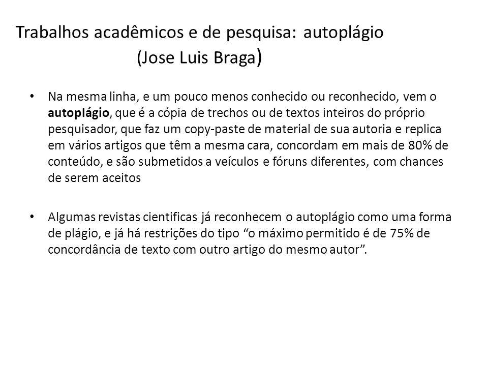 Trabalhos acadêmicos e de pesquisa: autoplágio (Jose Luis Braga ) Na mesma linha, e um pouco menos conhecido ou reconhecido, vem o autoplágio, que é a