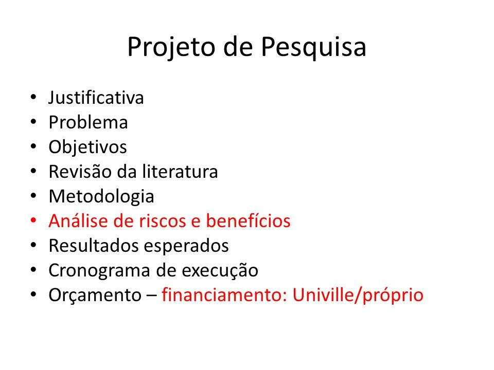 Projeto de Pesquisa Justificativa Problema Objetivos Revisão da literatura Metodologia Análise de riscos e benefícios Resultados esperados Cronograma