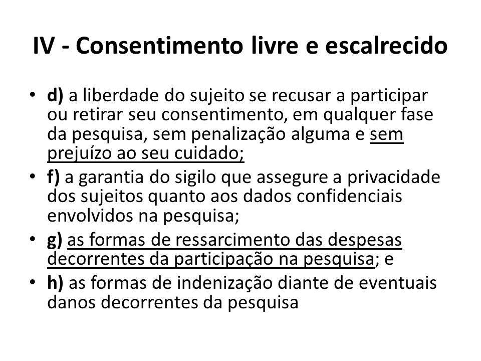 IV - Consentimento livre e escalrecido d) a liberdade do sujeito se recusar a participar ou retirar seu consentimento, em qualquer fase da pesquisa, s