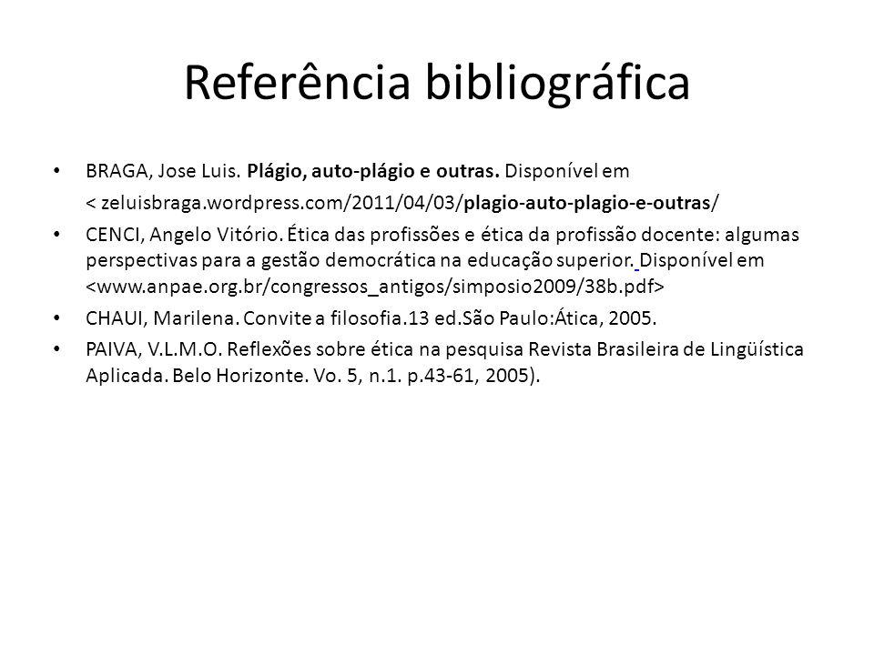 Referência bibliográfica BRAGA, Jose Luis. Plágio, auto-plágio e outras. Disponível em < zeluisbraga.wordpress.com/2011/04/03/plagio-auto-plagio-e-out