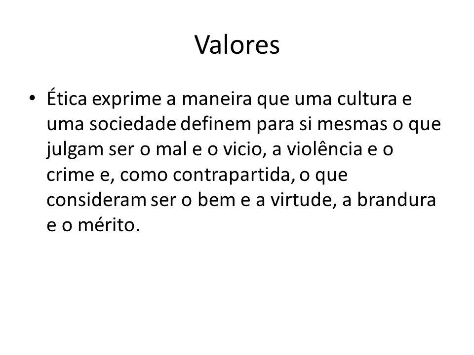 Valores Ética exprime a maneira que uma cultura e uma sociedade definem para si mesmas o que julgam ser o mal e o vicio, a violência e o crime e, como