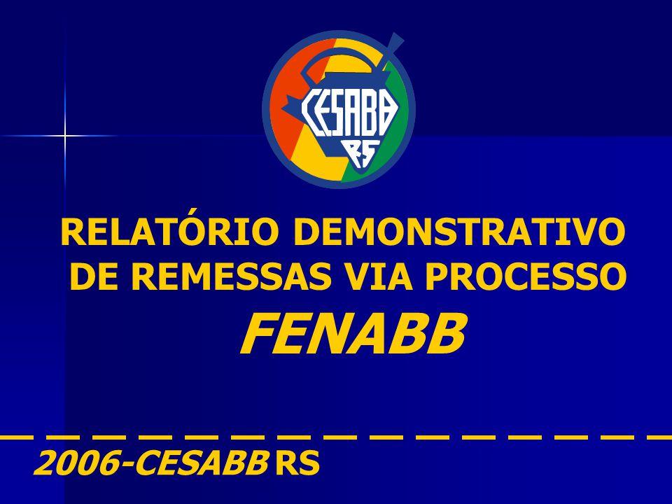 RELATÓRIO DEMONSTRATIVO DE REMESSAS VIA PROCESSO FENABB 2006-CESABB RS