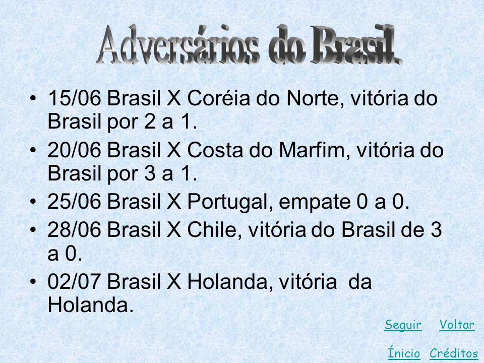 15/06 Brasil X Coréia do Norte, vitória do Brasil por 2 a 1. 20/06 Brasil X Costa do Marfim, vitória do Brasil por 3 a 1. 25/06 Brasil X Portugal, emp