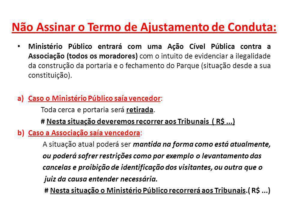 Não Assinar o Termo de Ajustamento de Conduta: Ministério Público entrará com uma Ação Cível Pública contra a Associação (todos os moradores) com o in