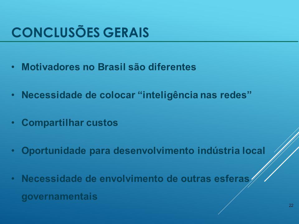 22 CONCLUSÕES GERAIS Motivadores no Brasil são diferentes Necessidade de colocar inteligência nas redes Compartilhar custos Oportunidade para desenvolvimento indústria local Necessidade de envolvimento de outras esferas governamentais