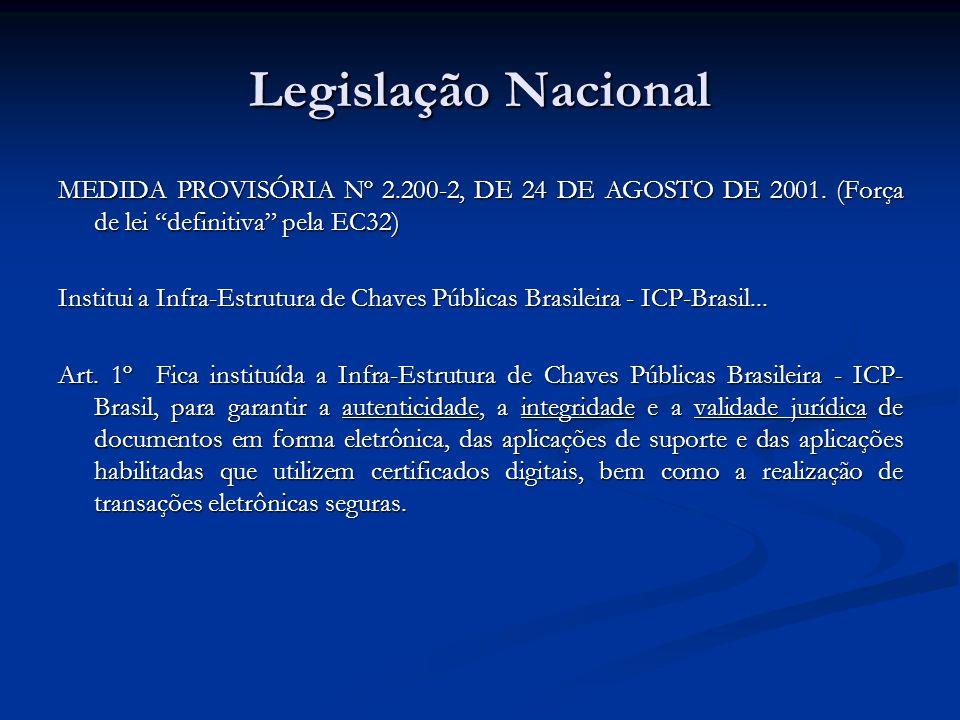 Legislação Nacional MEDIDA PROVISÓRIA Nº 2.200-2, DE 24 DE AGOSTO DE 2001. (Força de lei definitiva pela EC32) Institui a Infra-Estrutura de Chaves Pú