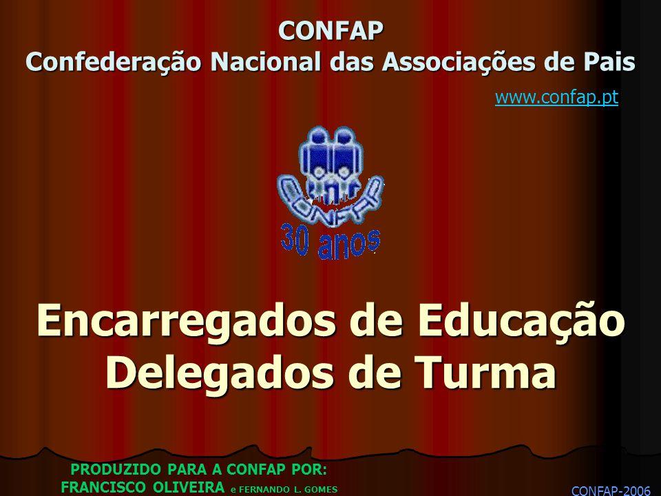 Encarregados de Educação Delegados de Turma CONFAP-2006 PRODUZIDO PARA A CONFAP POR: FRANCISCO OLIVEIRA e FERNANDO L. GOMES CONFAP Confederação Nacion
