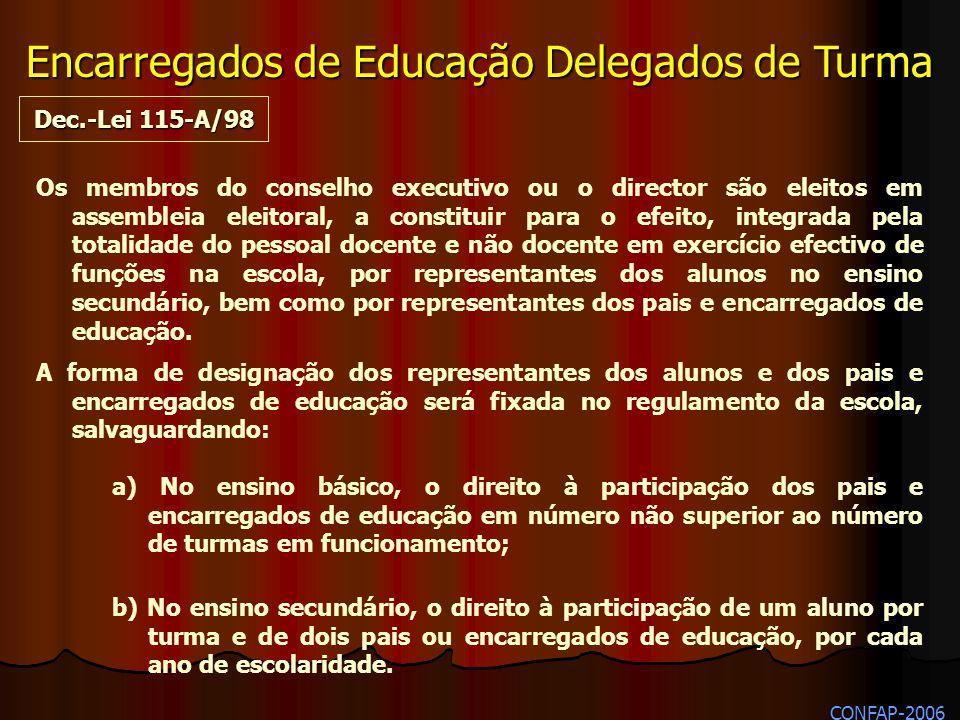 b) No ensino secundário, o direito à participação de um aluno por turma e de dois pais ou encarregados de educação, por cada ano de escolaridade. Dec.