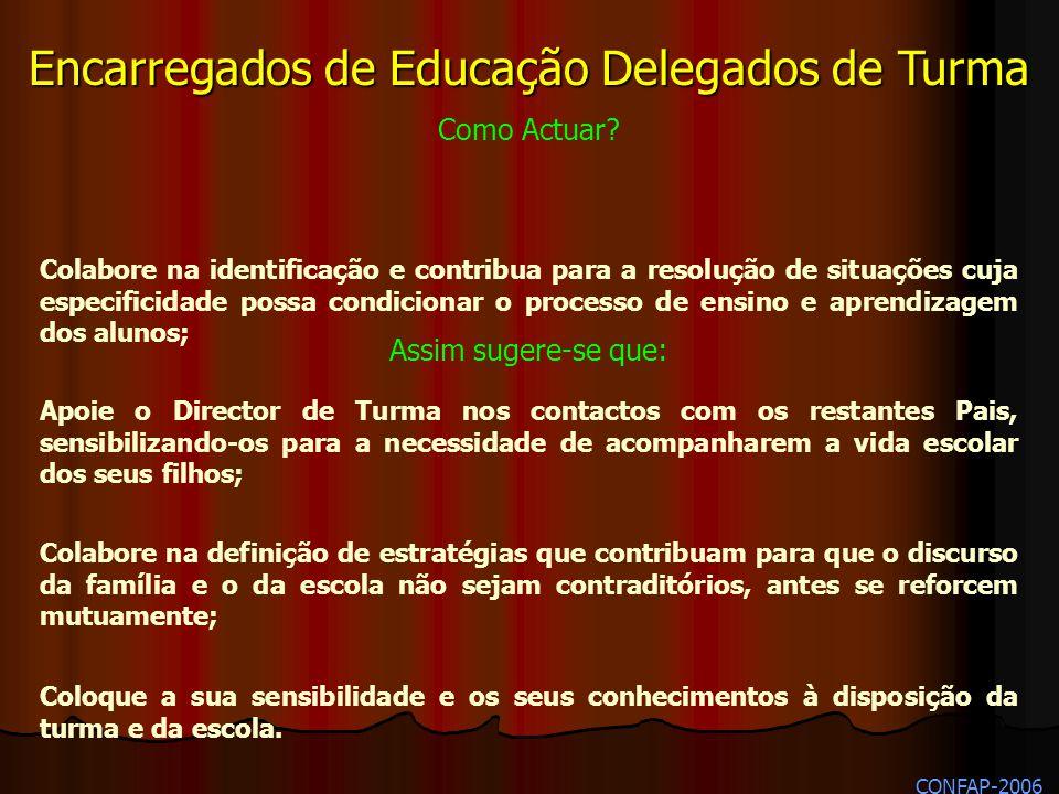 Encarregados de Educação Delegados de Turma Como Actuar? Assim sugere se que: Apoie o Director de Turma nos contactos com os restantes Pais, sensibili