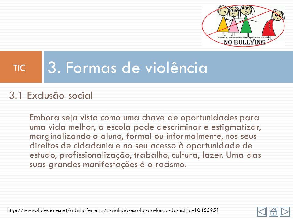 http://www.slideshare.net/cidinhaferreira/a-violncia-escolar-ao-longo-da-histria-10455951 Violência em contexto escolar é o conjunto de manifestações