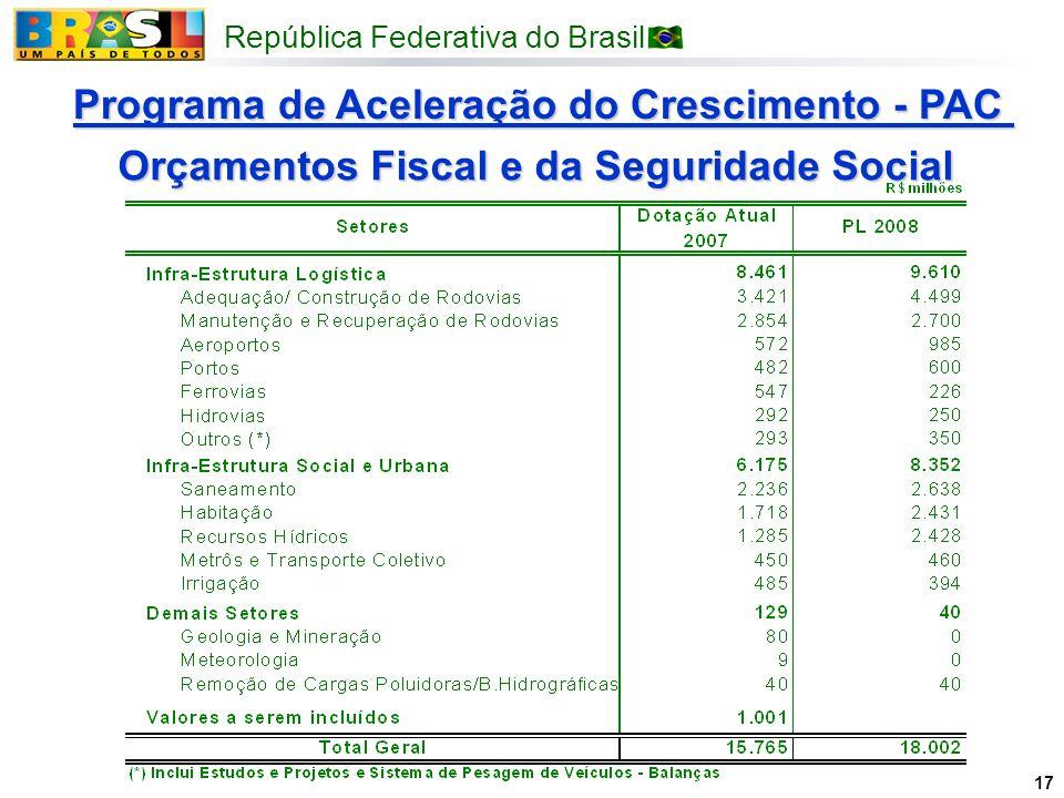 República Federativa do Brasil 17 Programa de Aceleração do Crescimento - PAC Orçamentos Fiscal e da Seguridade Social