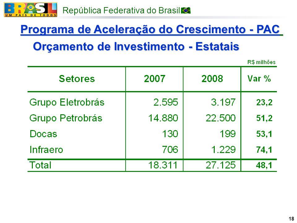 República Federativa do Brasil 18 Programa de Aceleração do Crescimento - PAC Orçamento de Investimento - Estatais