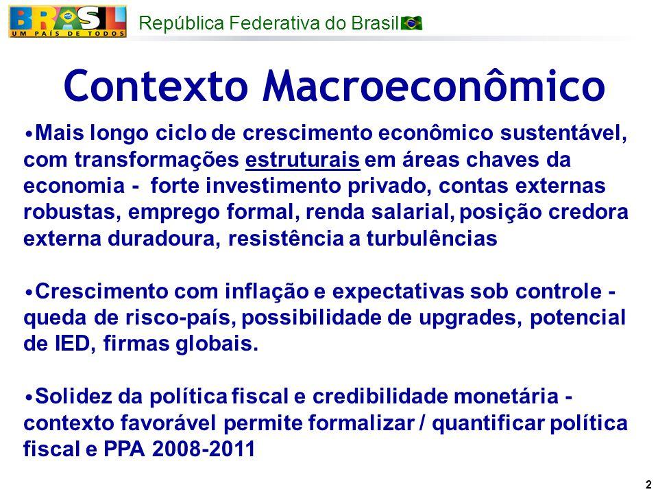 República Federativa do Brasil 2 Contexto Macroeconômico Mais longo ciclo de crescimento econômico sustentável, com transformações estruturais em área