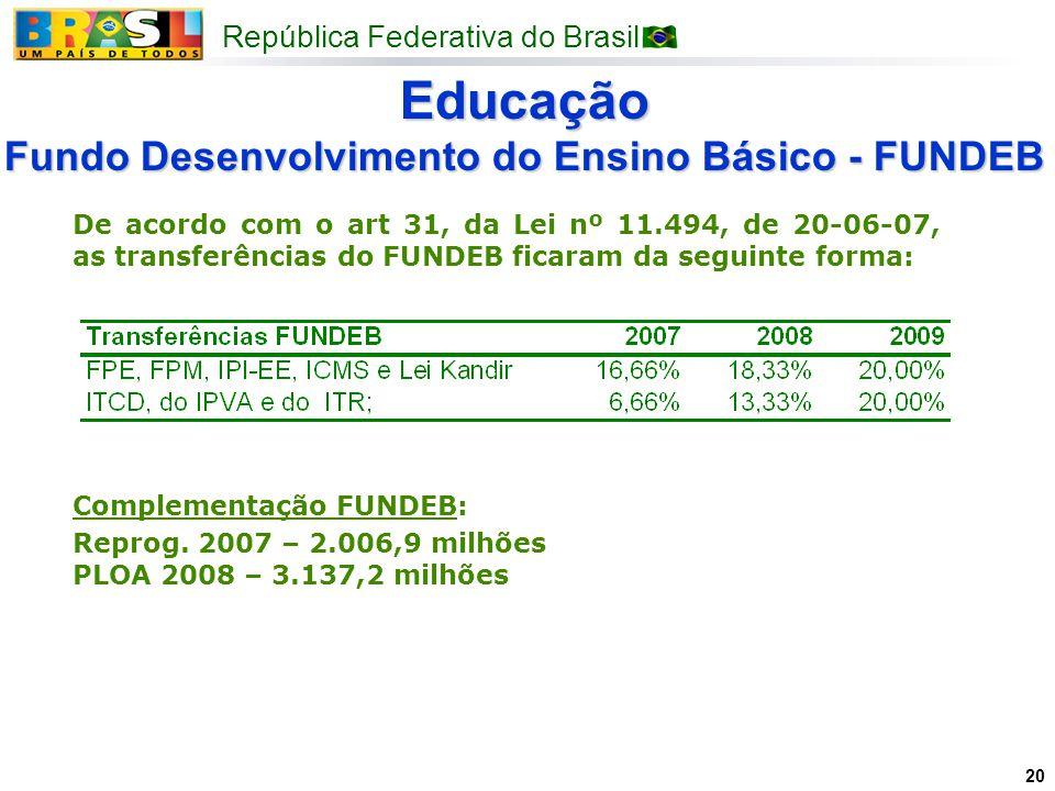 República Federativa do Brasil 20 Educação Fundo Desenvolvimento do Ensino Básico - FUNDEB De acordo com o art 31, da Lei nº 11.494, de 20-06-07, as t
