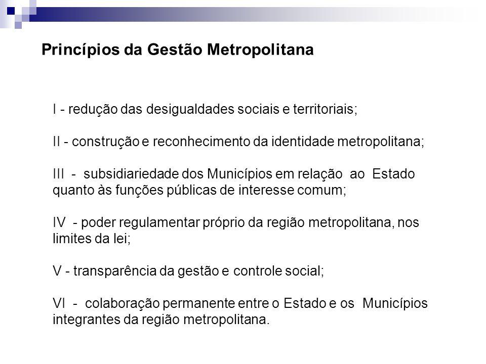 I - redução das desigualdades sociais e territoriais; II - construção e reconhecimento da identidade metropolitana; III - subsidiariedade dos Municípi