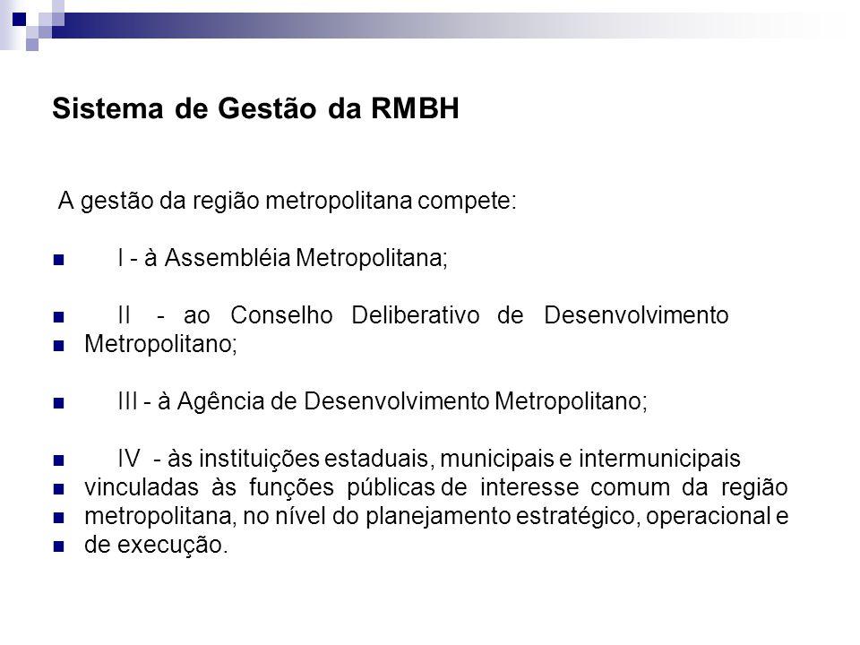 Sistema de Gestão da RMBH A gestão da região metropolitana compete: I - à Assembléia Metropolitana; II - ao Conselho Deliberativo de Desenvolvimento M