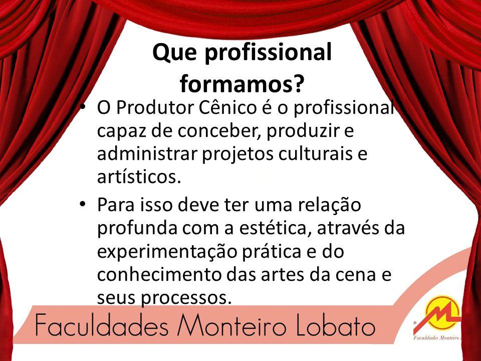 O profissionalismo entra em Cena Um curso criado especialmente para você. Nosso respeitável público.