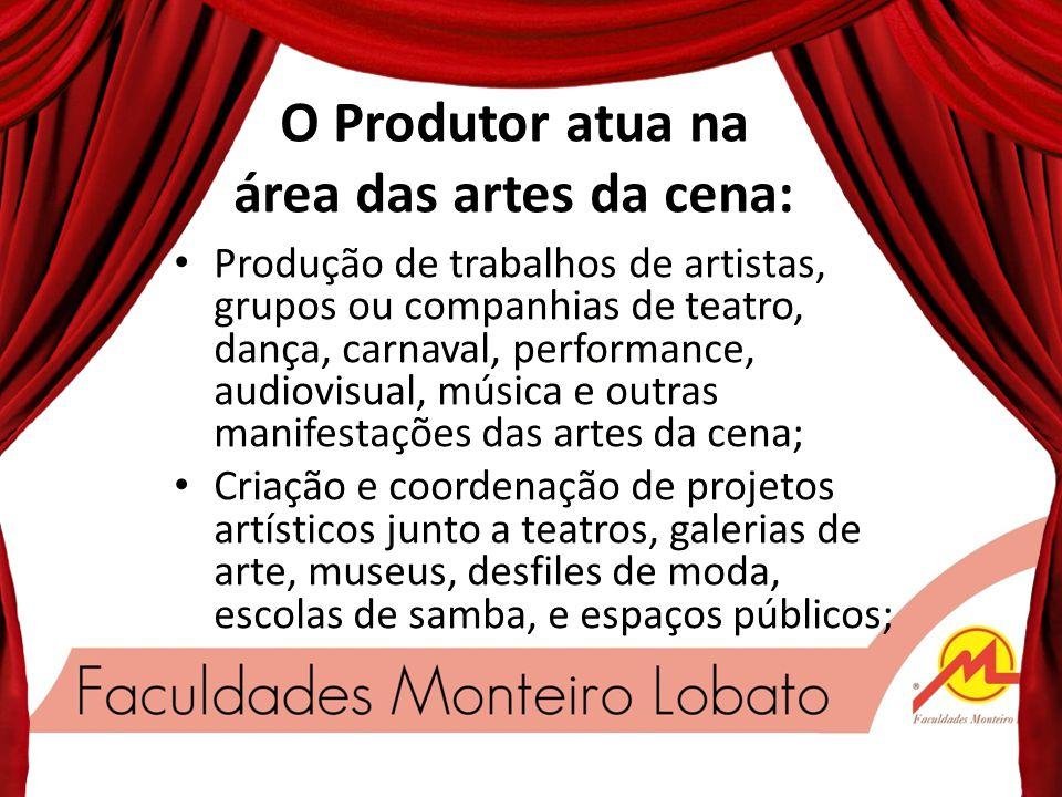 O Produtor atua na área das artes da cena: Produção de trabalhos de artistas, grupos ou companhias de teatro, dança, carnaval, performance, audiovisual, música e outras manifestações das artes da cena; Criação e coordenação de projetos artísticos junto a teatros, galerias de arte, museus, desfiles de moda, escolas de samba, e espaços públicos;