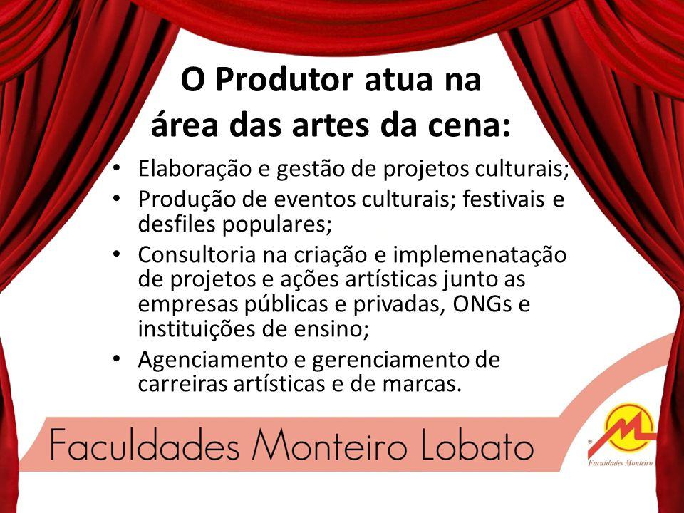 O Produtor atua na área das artes da cena: Produção de trabalhos de artistas, grupos ou companhias de teatro, dança, carnaval, performance, audiovisua