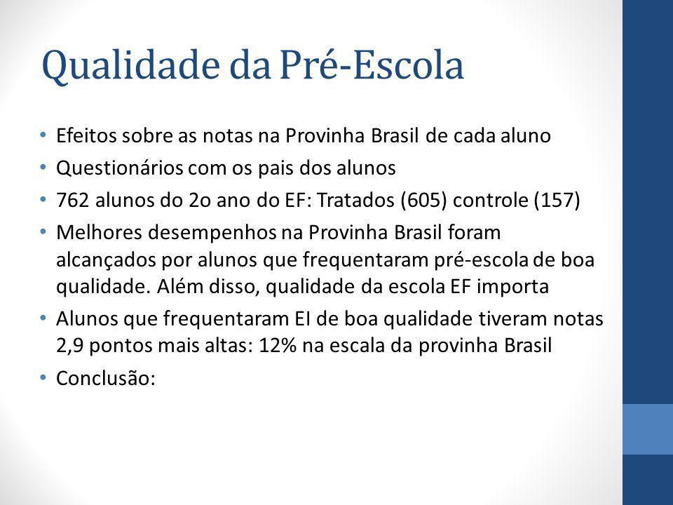 Qualidade da Pré-Escola Efeitos sobre as notas na Provinha Brasil de cada aluno Questionários com os pais dos alunos 762 alunos do 2o ano do EF: Trata