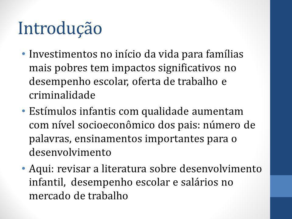 Introdução Investimentos no início da vida para famílias mais pobres tem impactos significativos no desempenho escolar, oferta de trabalho e criminali