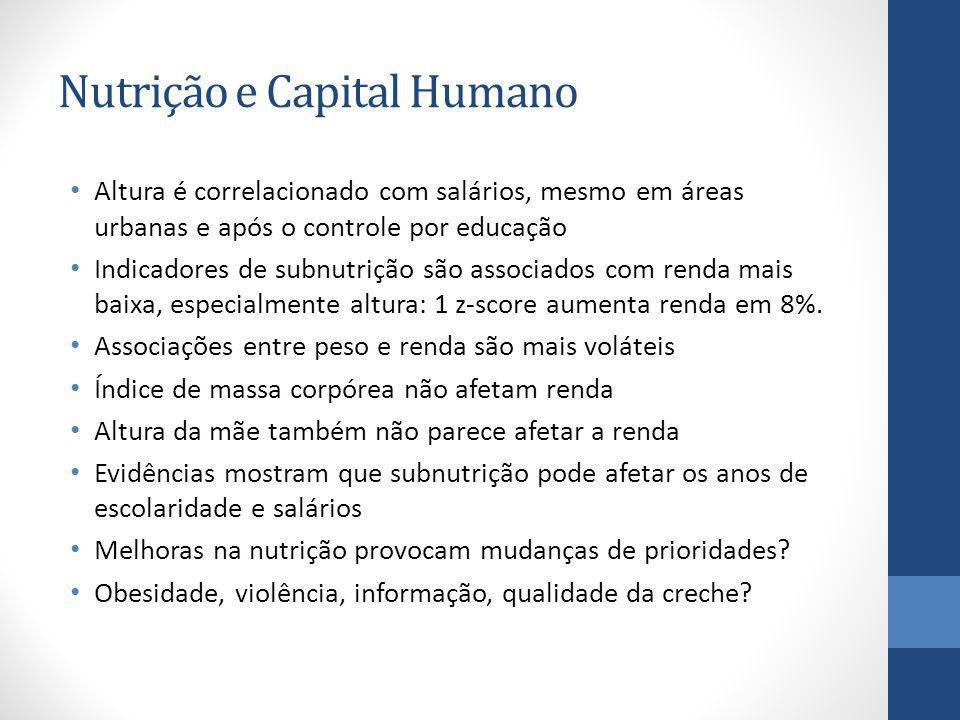 Nutrição e Capital Humano Altura é correlacionado com salários, mesmo em áreas urbanas e após o controle por educação Indicadores de subnutrição são a