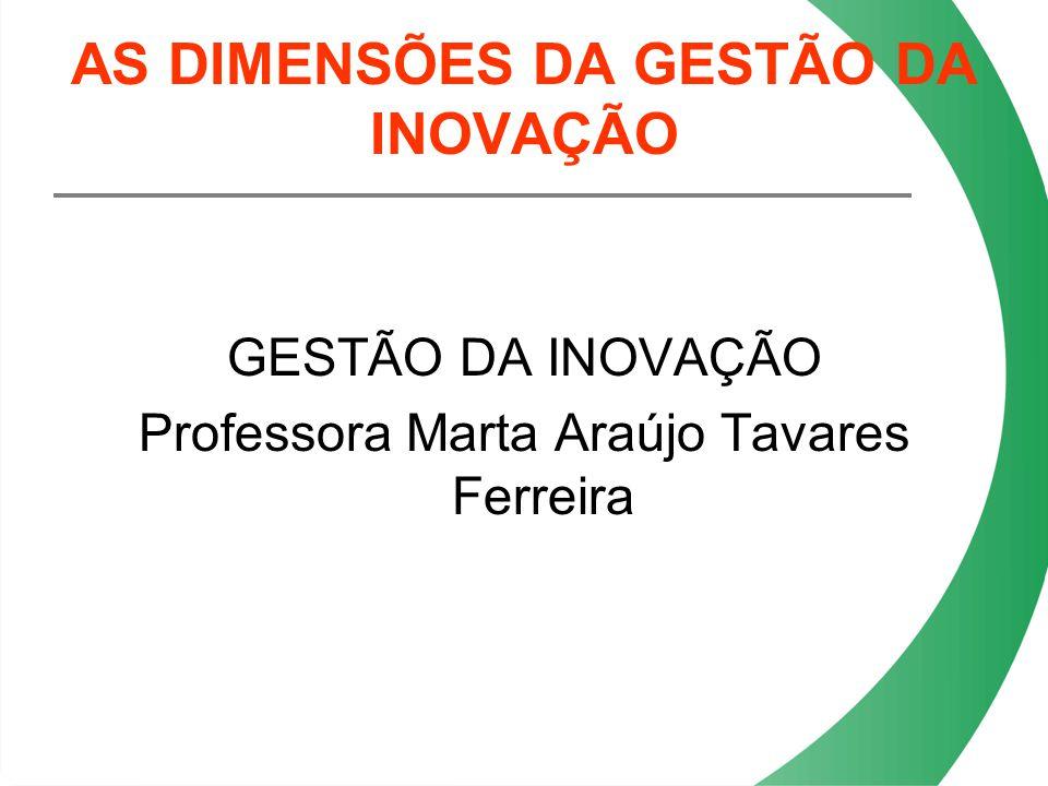 AS DIMENSÕES DA GESTÃO DA INOVAÇÃO GESTÃO DA INOVAÇÃO Professora Marta Araújo Tavares Ferreira