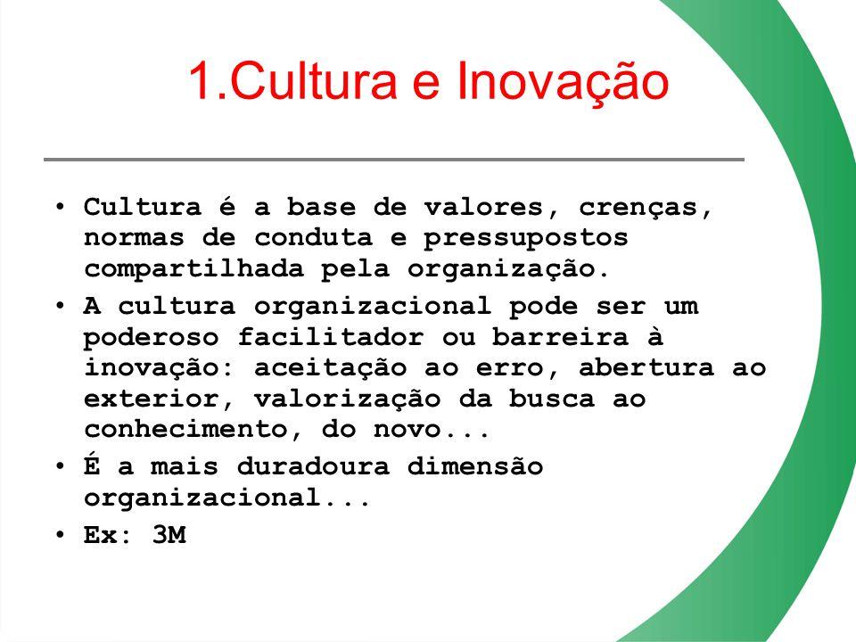1.Cultura e Inovação Cultura é a base de valores, crenças, normas de conduta e pressupostos compartilhada pela organização. A cultura organizacional p